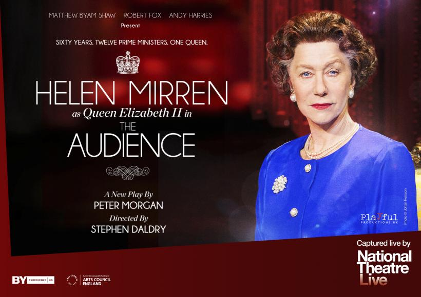 Portrait of Helen Mirren as Queen Elizabeth II wearing blue dress and pearls