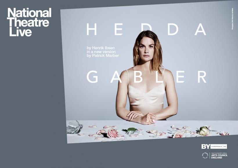 Hedda Gabler promotional poster featuring Hedda at a table covered with pink roses