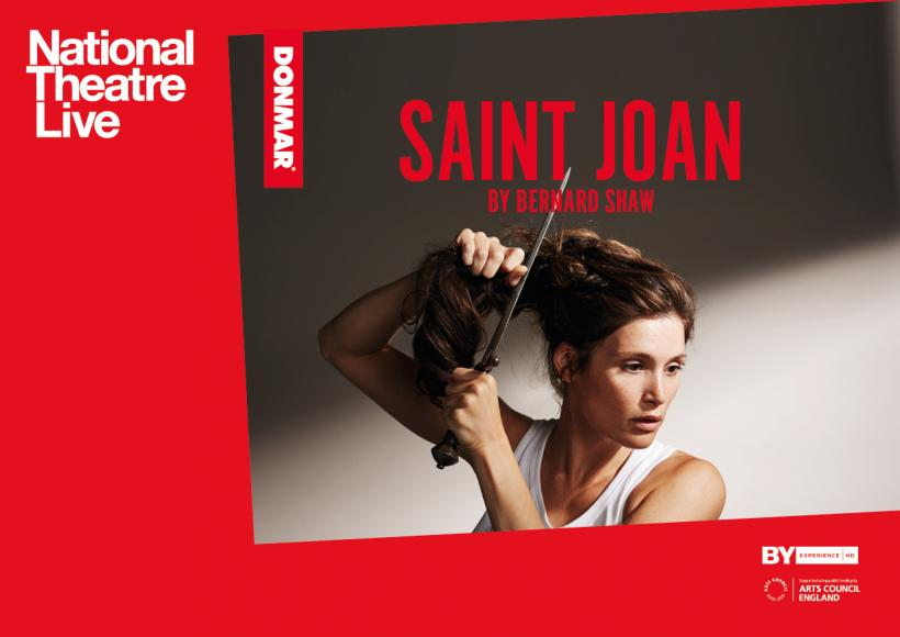 Promotional Poser for Saint Joan featuring Gemma Arterton cutting her hair with a dagger