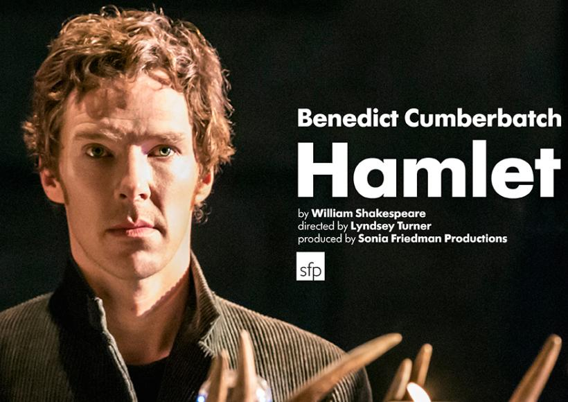 Poster featuring Benedict Cumberbatch as Hamlet staring off