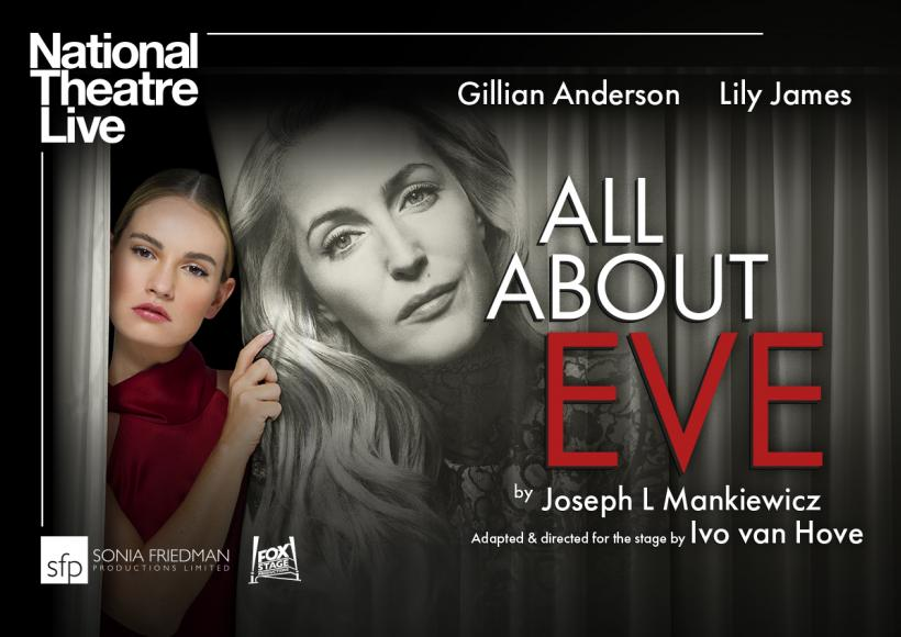 NT Live poster featuring woman peeking out from behind a curtain