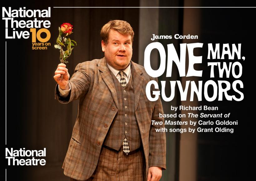 NT Live poster featuring James Corden with a flower