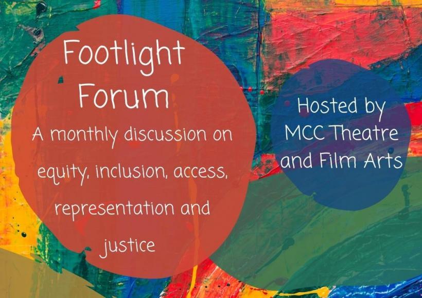 Footlight Forum Poster featuring randon paint splotches