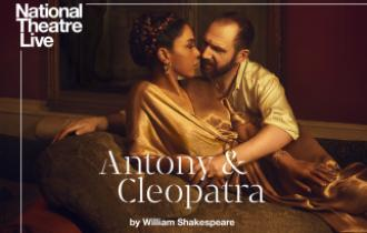 NT Live poster featuring image of Antony holding Cleopatra and staring into her eyes