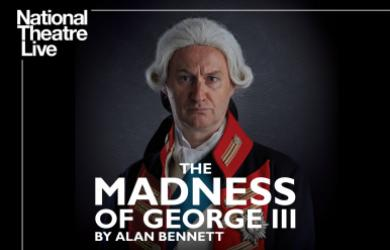 NT Live poster featuring image of King George III looking at the audience