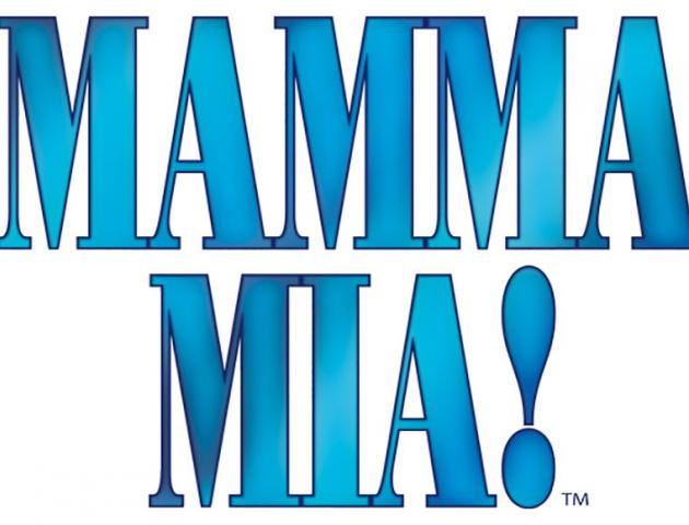 Mamma Mia blue text with an exclamation mark