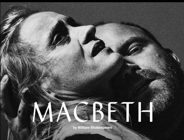 NT Live poster featuring Macbeth holding Lady Macbeth in a disturbing manner