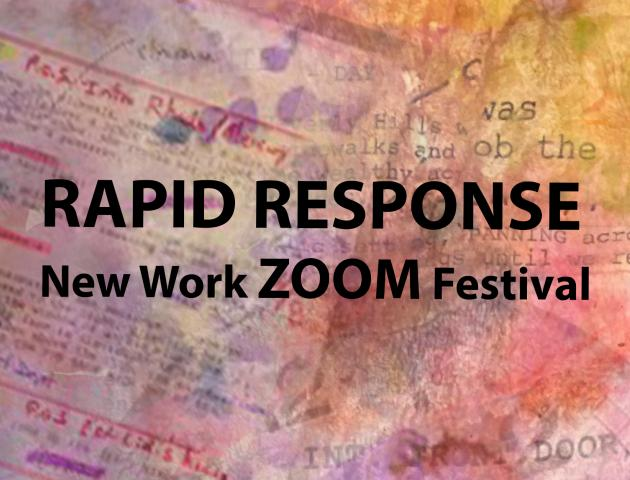 Rapid Response Festival text with styalized paperwork behind