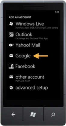 Windows Phone Google Option