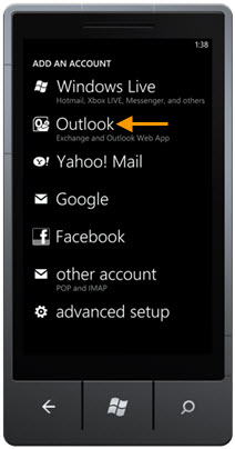 Windows Phone Outlook Option