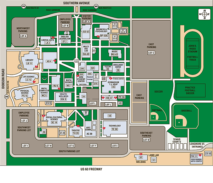 Mesa College Campus Map Southern and Dobson Campus Map | Locations | Mesa Community College