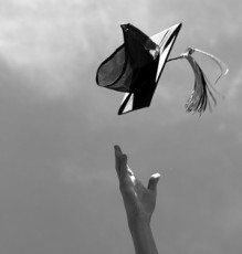 College Graduate Toss hats in ther area, celebrating their academic succes
