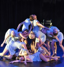 Dancers creating a clumped shape