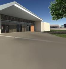 Rendition of the New Performing Arts Center and Art Gallery