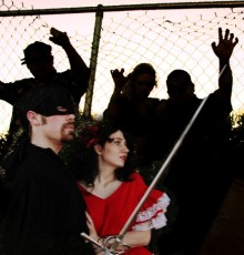 Zorro (Jesse Kinser), and his lover, Lolita (Ashley Halfhill), in Zorro at MCC