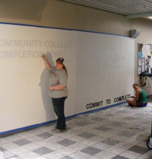 Student Signing the Wall