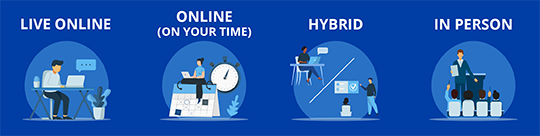 Class Formats - Live Online, Online (On Your Time), Hybrid, In Person