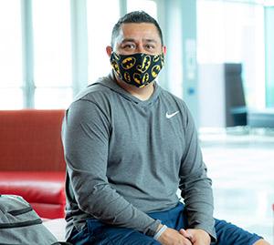 Individual wearing mask