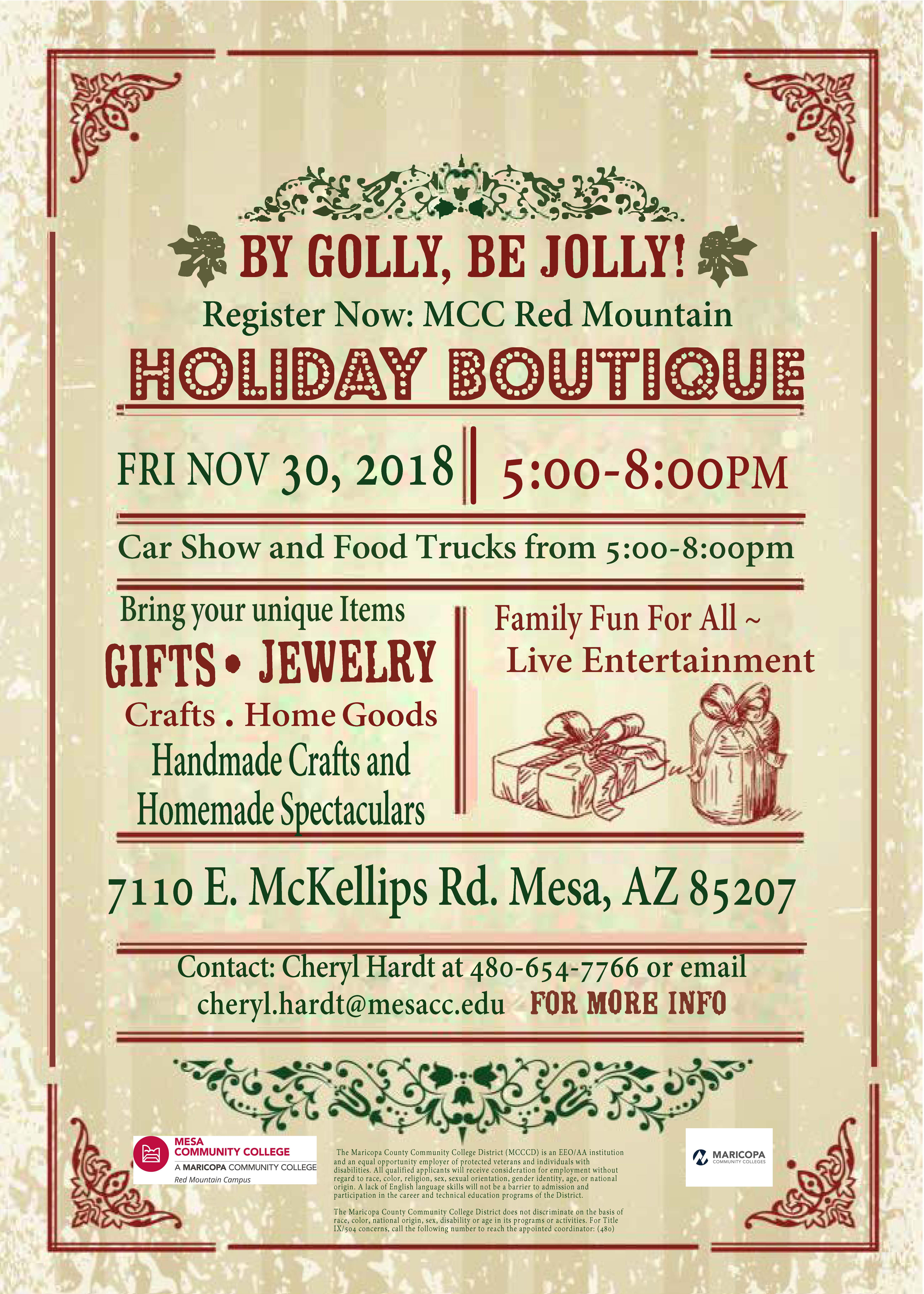 Lack Of College Disability Information >> Holiday Boutique And Car Show Events News Mesa Community College