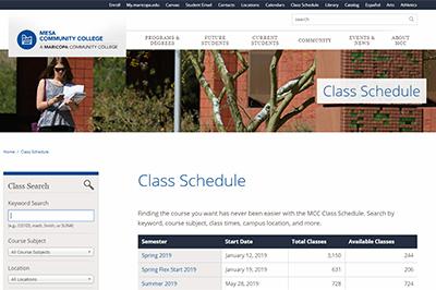 Class Schedule | Mesa Community College