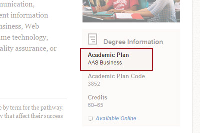 Example: Finding the Academic Plan Code or Major Code