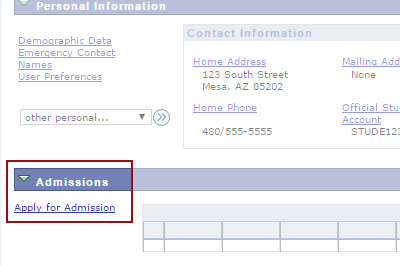 Example: Click on Apply for Admission