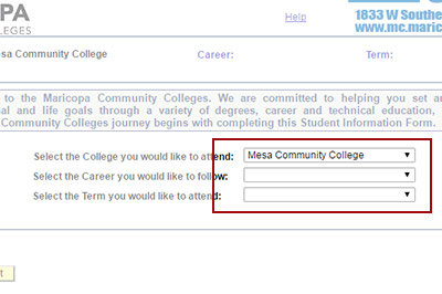 Example: Select Mesa Community College, and then the Program