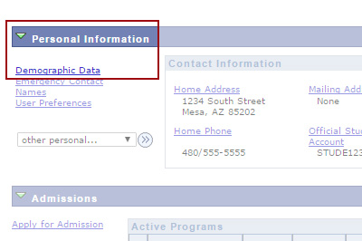 Example: Under Personal Information, click Demographic Data