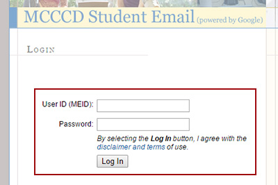 Example: Login to MCCCD Student Email with MEID and Password