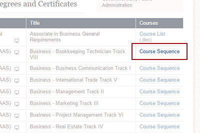 Example: Choosing a Course Sequence or Course List