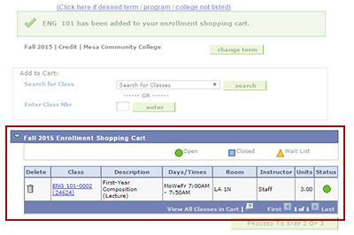Example: A class has been added to your enrollment shopping cart