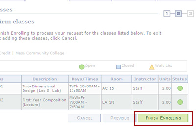 Example: Click Finish Enrolling to confirm your classes