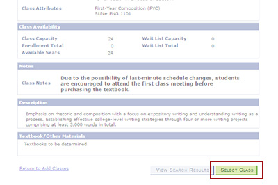 Example: Review the class details to make sure this is the class you want