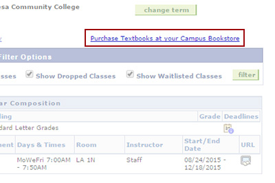 Example: Click on 'Purchase Textbooks at your Campus Bookstore'