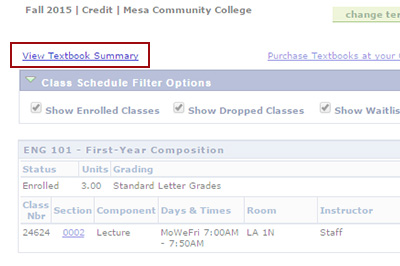 Example: Click on 'View Textbook Summary'