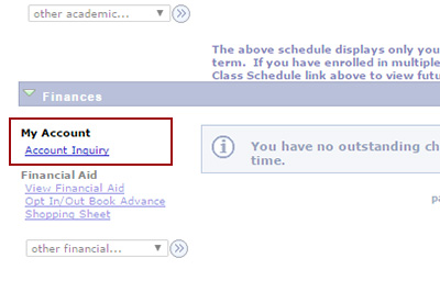 Example: Click 'Account Inquiry' under Finances