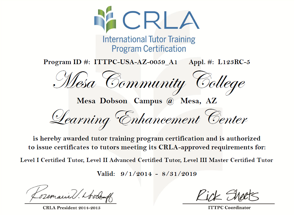 Crla tutor training program learning enhancement center mesa renewed every five years 1betcityfo Gallery