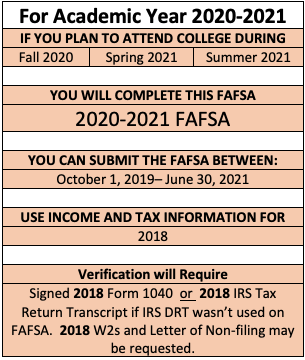 For the fall 2020, the spring 2021 and summer 2021 complete the 2020-2021 FAFSA application using your 2018 income information. If you're selected for verification after you've completed your FAFSA and you filed 2018 taxes, you will need to submit your signed 2018 federal tax form if you didn't use the IRS Data Retrieval Tool.  To complete your FAFSA go to FAFSA.gov.