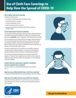 Printable Flyer - Use of Cloth Face Coverings to Help Slow the Spread of COVID-19