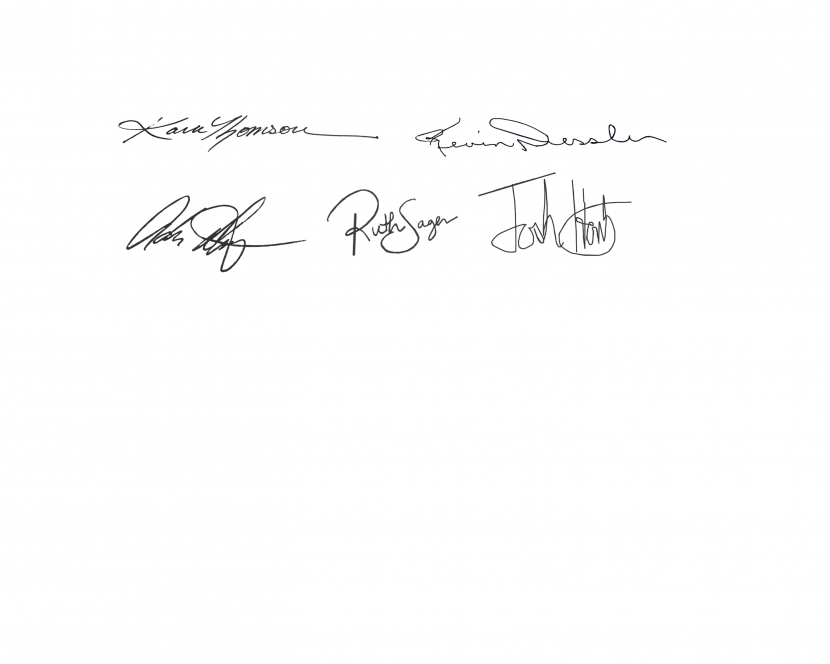 Signatures of Kevin Dressler, Kara Thomson, Adriana Diaz, Ruth Sager, and Josh Hontz
