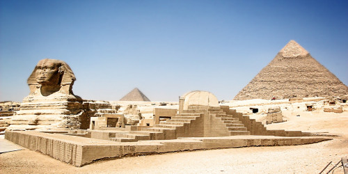 Sphinx and Giza pyramids in Egypt