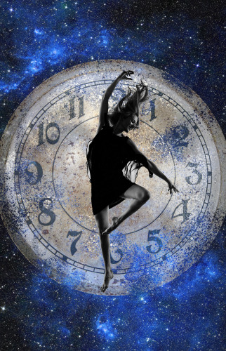 Dancer jumping in front of clock