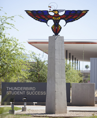 The Thunderbird stands east of the clock tower along the main east/ west walk.