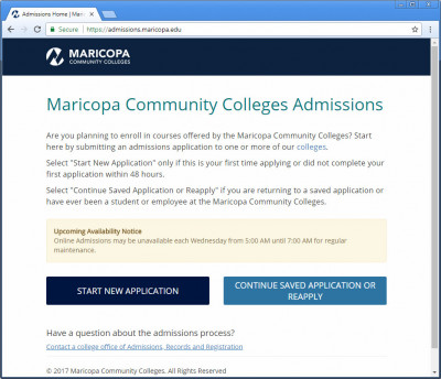 Maricopa Community Colleges Admissions