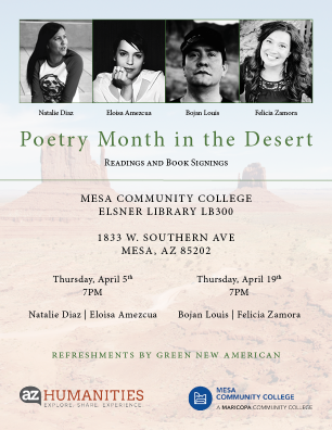 Poster for Poetry Month in the Desert. Contains photos of the poets and location information.