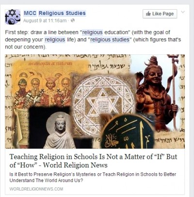 Post from MCC Religious Studies Facebook
