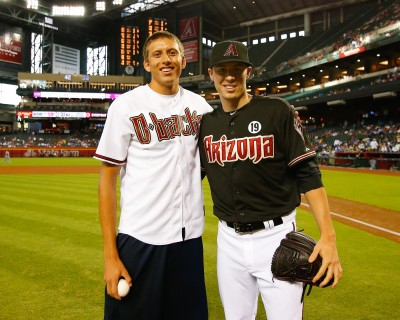 Pau Tonnensen with Arizona Diamondbacks All-Star pitcher Patrick Corbin,  who caught the ceremonial first pitch thrown by Pau at the ceremony  honoring him on July 10th at Chase Field.