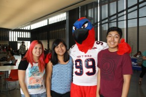 Thor the Thunderbird and students