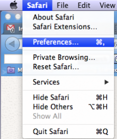 Safari Preferences Tab