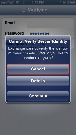 iPhone Verify Identity Error